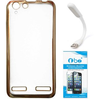 TBZ Transparent Electroplated Edges TPU Back Case Cover for Lenovo Vibe K5 Plus with Flexible USB LED Light Lamp and Tempered Screen Guard -Golden