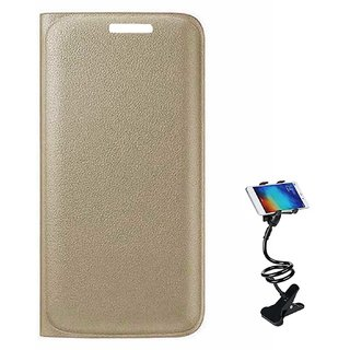 TBZ PU Leather Flip Cover Case for Motorola Moto M with Flexible Lazy Stand -Golden