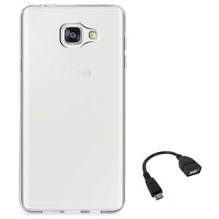 TBZ Transparent Silicon Soft TPU Slim Back Case Cover for Samsung Galaxy On Max with OTG Cable
