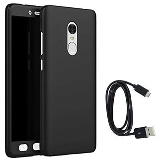 TBZ 360 Degree Protection Front & Back Case Cover for Motorola Moto G5 Plus with Data Cable -Black