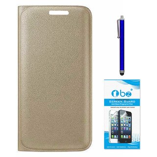 TBZ PU Leather Flip Cover Case for Motorola Moto M with Stylus Pen and Tempered Screen Guard -Golden