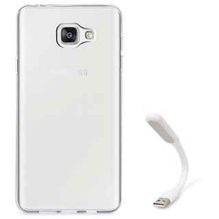 TBZ Transparent Silicon Soft TPU Slim Back Case Cover for Samsung Galaxy On Max with Flexible USB LED Light Lamp
