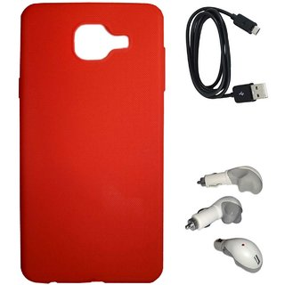 TBZ Rubberised Silicon Soft Back Cover Case for Samsung Galaxy On Max with Car Charger and Data Cable  -Red