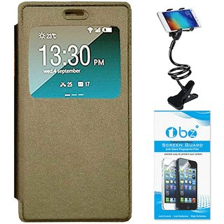 TBZ Window Premium Flip Cover Case for Oppo A37 with Flexible Lazy Stand  and Tempered Screen Guard -Gold