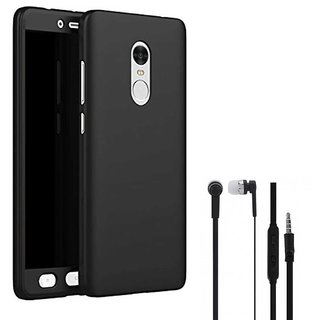 TBZ 360 Degree Protection Front & Back Case Cover for Motorola Moto G5 Plus with Earphone -Black