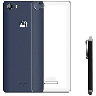 TBZ Transparent Silicon Soft TPU Slim Back Case Cover for Micromax Canvas 5 E481 with Stylus
