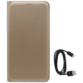TBZ PU Leather Flip Cover Case for Motorola Moto G5 Plus with Data Cable -Golden