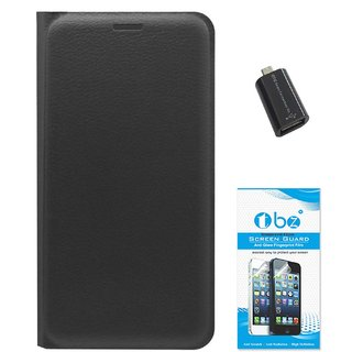 TBZ PU Leather Flip Cover Case for Moto E3 Power with OTG Adaptor and Tempered Screen Guard -Black