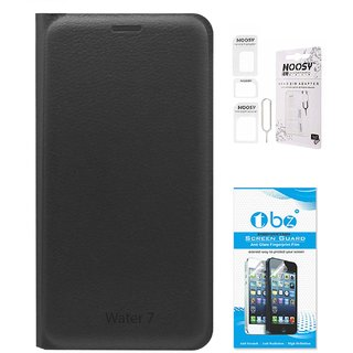 TBZ PU Leather Flip Cover Case for Lyf Water 7 with Nossy Sim Adaptor and Tempered Screen Guard -Black