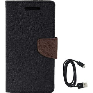 TBZ Diary Wallet Flip Cover Case for Samsung Galaxy J7 Max with Data Cable -Black-Brown