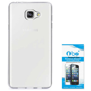 TBZ Transparent Silicon Soft TPU Slim Back Case Cover for Samsung Galaxy On Max with Tempered Screen Guard