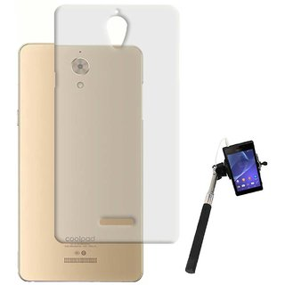 TBZ Transparent Silicon Soft TPU Slim Back Case Cover for Coolpad Mega with Selfie Stick Monopod with Aux