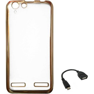 TBZ Transparent Electroplated Edges TPU Back Case Cover for Lenovo Vibe K5 Plus with OTG Cable -Golden
