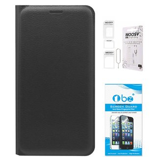 TBZ PU Leather Flip Cover Case for Lenovo K6 Power with Nossy Sim Adaptor and Tempered Screen Guard -Black