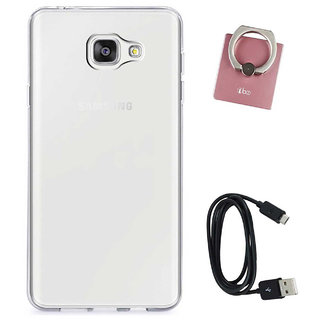 TBZ Transparent Silicon Soft TPU Slim Back Case Cover for Samsung Z4 with Mobile Ring Holder and Data Cable