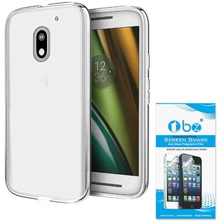 TBZ Transparent Silicon Soft TPU Slim Back Case Cover for Moto E3 Power with Tempered Screen Guard