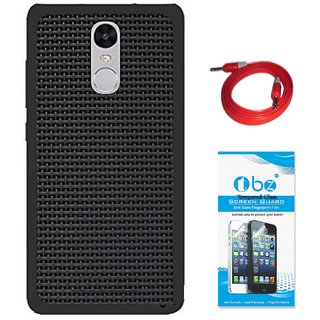 TBZ Rubberised Black Net/Jali Back Cover Case for Motorola Moto G5 Plus with AUX Cable and Tempered Screen Guard