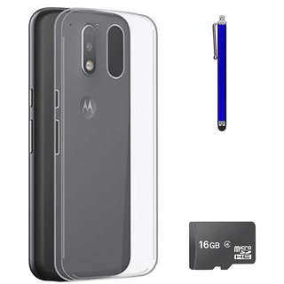 TBZ Transparent Silicon Soft TPU Slim Back Case Cover for Motorola Moto G4 Play? with 16GB MicroSD and Stylus