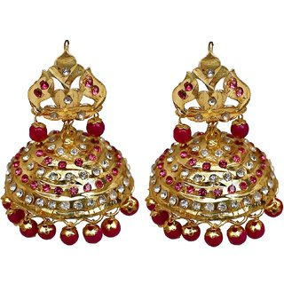 74ce792d1 Buy Lucky Jewellery Designer Magenta Color Gold Plating Navratan Jhumki  Earring For Girls & Women Online - Get 67% Off