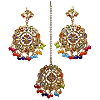 Lucky Jewellery Designer Multi Color Gold Plated Navratan Earring Tikka Set For Girls & Women