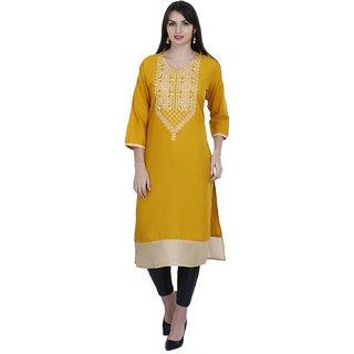 Looksgood Women's Yellow Self Design Stitched Kurti