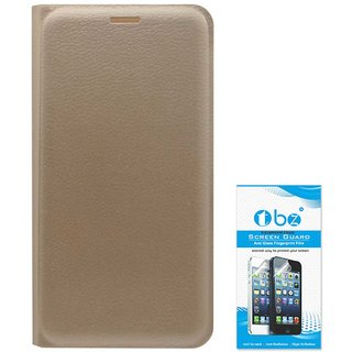 TBZ PU Leather Flip Cover Case for Lenovo Vibe K5 Plus with Tempered Screen Guard  Golden