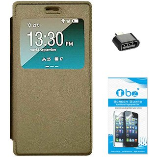 TBZ Window Premium Flip Cover Case for Vivo V5 with OTG Adaptor and Tempered Screen Guard -Golden