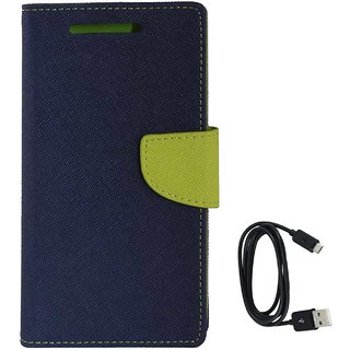 TBZ Diary Wallet Flip Cover Case for Vivo Y53 with Data Cable -Blue-Green