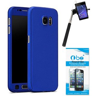 TBZ 360 Degree Protection Front & Back Case Cover Cover for Samsung Galaxy On Max with Selfie Stick with Aux and Tempered Screen Guard -Blue