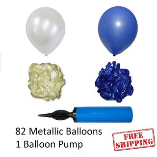 82 Blue and White Metallic Balloons with Balloon Pump for Baby boy Birthday decorations Qty 82