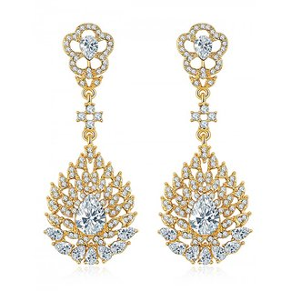 Crystal Elements Fresh-Arrival Stunning Pair Of Platinum Plated Drop Earrings For Women/Girls (White)