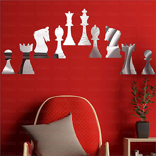 LOOK DECOR Chess Silver(pack of 10)Acrylic Sticker, 3D Acrylic Sticker, 3D Mirror, 3D Acrylic Wall sticker, 3D Acrylic stickers for wall, 3D Acrylic Mirror stickers for living room, bedroom, kids room, 3D Acrylic mural for home offices dcor 1