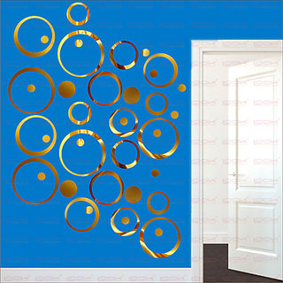 LOOK DECOR 40 Ring And Dots Golden(Pack of 40) Acrylic Wall Sticker (5 *20*5)