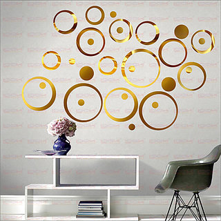 LOOK DECOR 30 Ring And Dots Golden(Pack of 30) Acrylic Wall Sticker (5 *20*5)