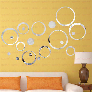 LOOK DECOR 20 Ring And Dots Silver(Pack of 20) Acrylic Wall Sticker (5 *20*5)