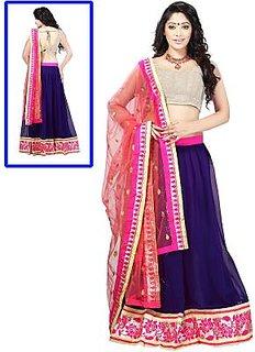 Blue Lehenga With Pink Combination