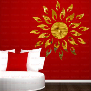 LOOK DECOR Sun Flame Golden(Pack of 25)Acrylic Sticker, 3D Acrylic Sticker, 3D Mirror, 3D Acrylic Wall sticker, 3D Acrylic stickers for wall, 3D Acrylic Mirror stickers for living room, bedroom, kids room, 3D Acrylic mural for home & offices dcor 5