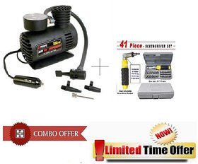 Special Combo Offer! 41 Pcs Toolkit  with Car Air Compressor - 41PAIRCMP