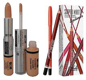 Me Now super matte lipliner pencil(pack of-12)with double action foundation