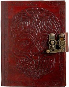 Satya Pure Genuine Real Vintage Leather Head Handmade Paper Notebook Diary With Lock -Brown Size (7X5.5 inches)