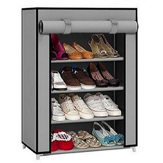 Portable shoe rack-GREY-4Layer