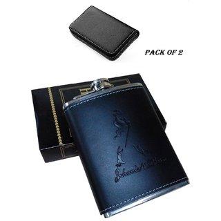 Mr. Alex Stainless Steel Stitched Leather Hip Flask 7 Oz (210 Ml), Johnnie Walker Design  Black Card Holder, Pack of 2