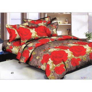 Panipat Direct Premium Quality 3D Double Bed Sheet With 2 Pillow Covers and 1 Free Matching Cushion Cover (PDNDBS3)