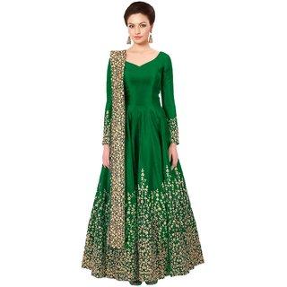 Om Fashion Latest Taffeta Silk Green Party Wear Anarkali Salwar Kameez