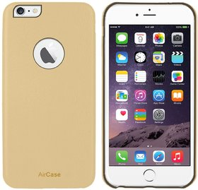 AirCase iPhone 6s Plus/ 6 Plus Leather Feel 1mm Slim Back Case/Cover with Cut Out (S Gold)