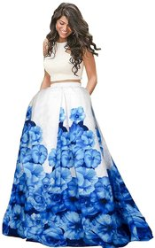 Designer Sky Blue Color Banglory Silk satin Printed Semi Sttiched lehgha By Omstar Fashion
