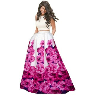 Designer Pink Color Banglory Silk satin Printed Semi Sttiched lehgha By Omstar Fashion