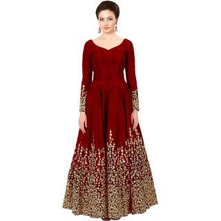 Fashion Latest Taffeta Silk Red Party Wear Anarkali Salwar Kameez