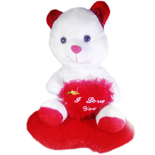 MS SONS GIFTARTS MS0000001 BLACK AND RED MEDIUM SOFT TOY STUFFED HOLDING TEDDY BEAR SITTING HEART (INSIDE MUSIC) FOR