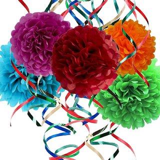 Buy 10 Piece Party Decorations Set Tissue Paper Flowers Plastic